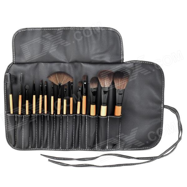 15-in-1 Cosmetic Make-up Brushes Set - Black + Yellow