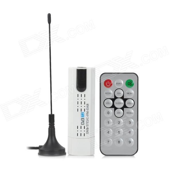 MINI DVB-T2 USB DVB-T/T2/C TV Receiver w/ FM, Antenna - White + Black