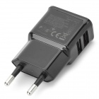 Universal Compact Dual USB Output EU Plug Power Adapter - Black