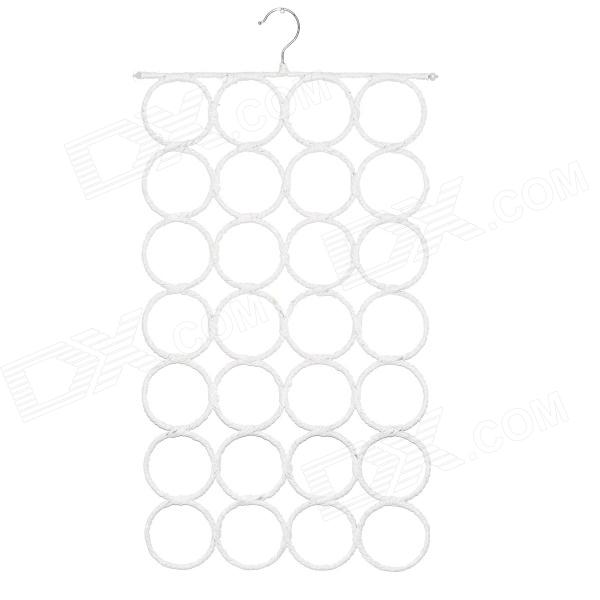 28 Ring Circles Clothes Tie Belt Shawl Scarf Hanger Holder Closet Organizer Hook - White