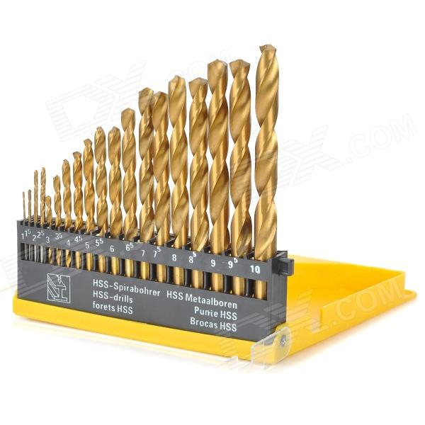 A19 19-in-1 Straight Handle Shank Twist Drill Bits Set - Golden 63mm 370mm diamond core drill bits cd63i free shipping 2 5 concrete wall wet core bits professional engineering core drill
