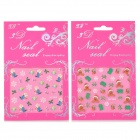 Them XF363365 Navidad 3D Nail Art Stickers - Blanco + Verde (2 PCS)