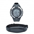 CHEERLINK W124 Sport PU Leather Band Digital Wireless Heart Rate Watch - Black (1 x CR2032)