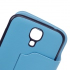 XSKN Protective PU Leather Case Cover Stand w/ Visual window for Samsung Galaxy S4 - Light Blue