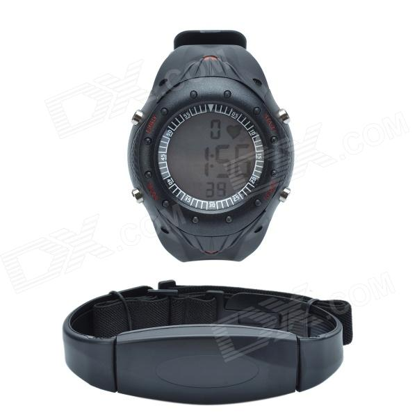 CHEERLINK W121 Sport PU Leather Band Digital Wireless Heart Rate Watch - Black (2 x CR2032)