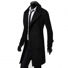 Fashionable Double-Breasted Trench Men's Coat - Black (Size-L)