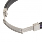 Decompression Anion Silicone Non-Allergy Bracelet - Silver + Black + Purple