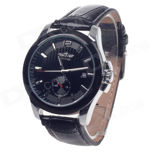 Winner Stylish Automatic Mechanical Smart Men's Wrist Watch w/ Date Display - Black forsining a165 men tourbillon automatic mechanical watch leather strap date week month year display