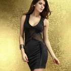 LC2917-2 Seductive Party Mini Dress w/ Tulle Insert - Black (Free Size)