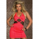 LC2917-3 Seductive Party Mini Dress with Tulle Insert - Orange (Free Size)