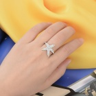 KCCHSTAR 18K Platinum Plating Starfish Ring w/ Artificial Diamond - Silver (US Size-8)
