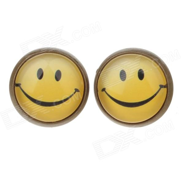 Smiling Face Pattern Ancient Palace Bronze Ear Studs - Yellow + Black (Pair)
