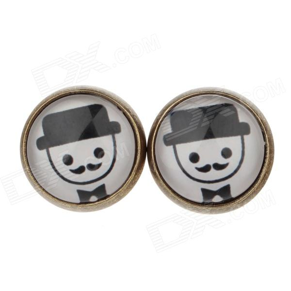 Mustache Pattern Ancient Palace Bronze Ear Studs - White + Black (Pair)