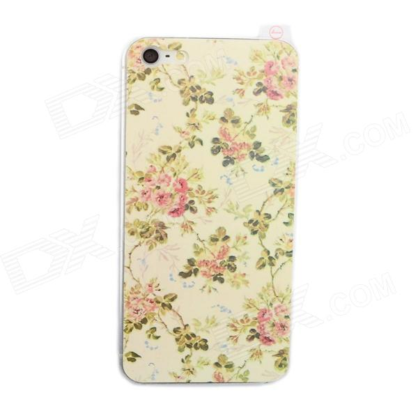 Glow-in-the-Dark Flower Pattern Protective Plastic Front + Back Skin Protector for iPhone 5 / 5s
