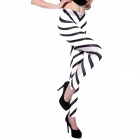 Elonbo Y1F5 Colored Stripes Style Digital Painting Tight Leggings - White + Black (Free Size)