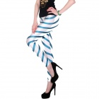 Elonbo Y1F4 Colored Stripes Style Digital Painting Tight Leggings - White + Blue (Free Size)