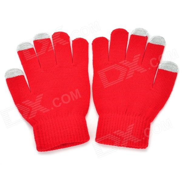 DH-01 Wool Warm Capacitive Touch Gloves - Black + Red + Multicolored (Pair)
