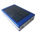 Portable 14500mAh Li-ion Battery Solar Power Source Bank w/ Dual USB + LED - Blue