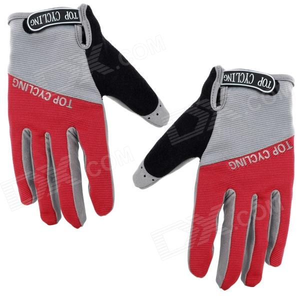 TOPCYCLING TOP901 Outdoor Sports Anti-slip Cycling Full-finger Gloves - Red + Grey (Size XL)