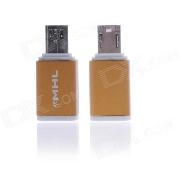 Portable MHL Micro USB 5-Pin to Micro USB 11-Pin Adapter - Gold + White