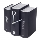 Fashion Book Style Desk Clock - Black (1 x AA)