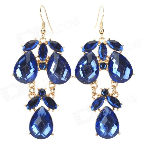 ER-3769 Water Drop Style Zinc Alloy + Crystals Dangle Earrings for Women - Blue + Golden women s fashion tassel style zinc alloy earrings golden silver pair