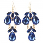 ER-3769 Water Drop Style Zinc Alloy + Crystals Dangle Earrings for Women - Blue + Golden