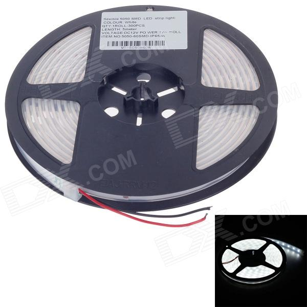 Waterproof 72W 5400lm 6400K 300 x SMD 5050 LED White Light Car Decoration Light Strip - (12V / 5m)