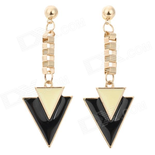 ER-3752 Trangle Shaped Zinc Alloy Stud Dangle Earrings for Women - Black + Gold (Pair) fashionable flower shaped zinc alloy earrings for women golden black multi colored pair