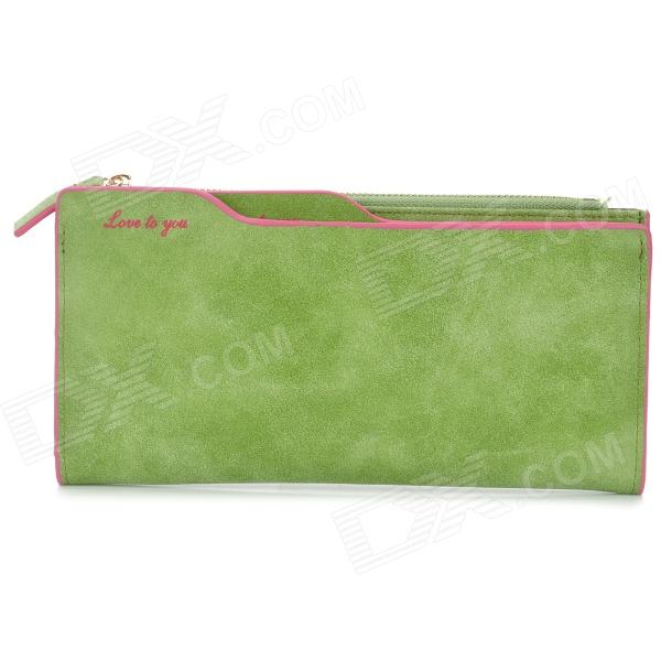 QB-1 Fashion PU Zipper Long Wallet for Women - Green