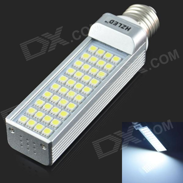 E27 8W 630LM 6000K 40-5050 SMD LED White Light Bulb - White + Silver (AC85-265V)