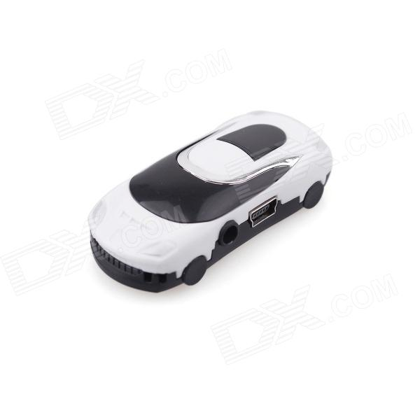 PORTWORLD C01 Fashionable Mini Sports Car Model MP3 Music Player - Black + Milky White
