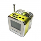 "2"" LCD Colorful Flash Mini Speaker w/ FM, TF Card Reader & Clock - Green+Transparent"