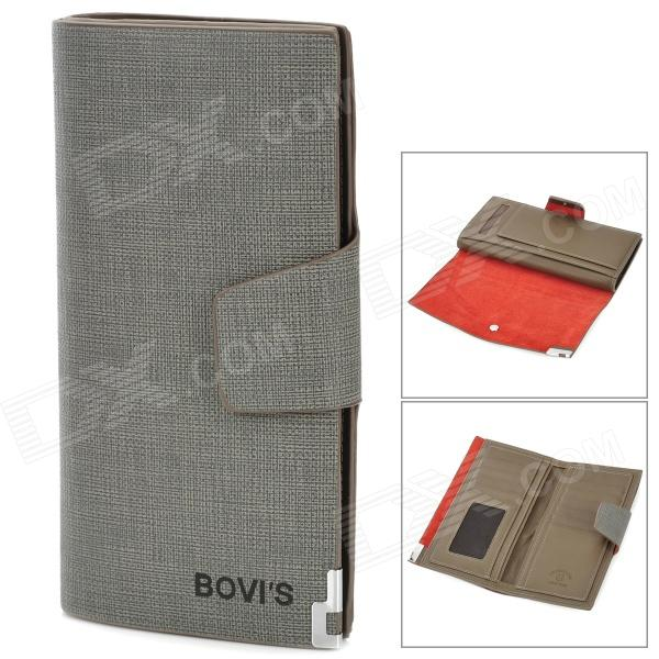 BOVI'S 8020-3 Stylish PU Leather Purse Wallet w/ Multiple Card Slots - Grey