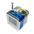 "2"" LCD Colorful Flash Mini Speaker w/ FM, TF Card Reader & Clock - Blue+Transparent"