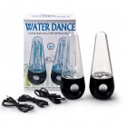 USB Powered Colorful LED Fountain Dancing Water Stereo Music Speakers w/ 3.5mm Audio In - Black