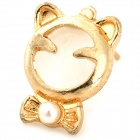 Cute Cat Style Gold-plated Alloy + Opals Stud Earrings for Women - Golden + White (Pair)