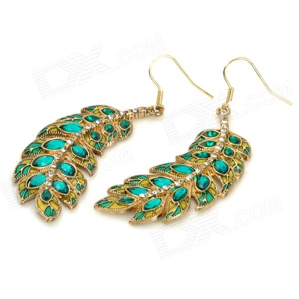 ER-9103 Leaf Pattern Zinc Alloy w/ Crystals Dangle Earrings for Women - Green + Bronze (Pair) square shaped stylish crystal zinc alloy stud earrings black bronze pair