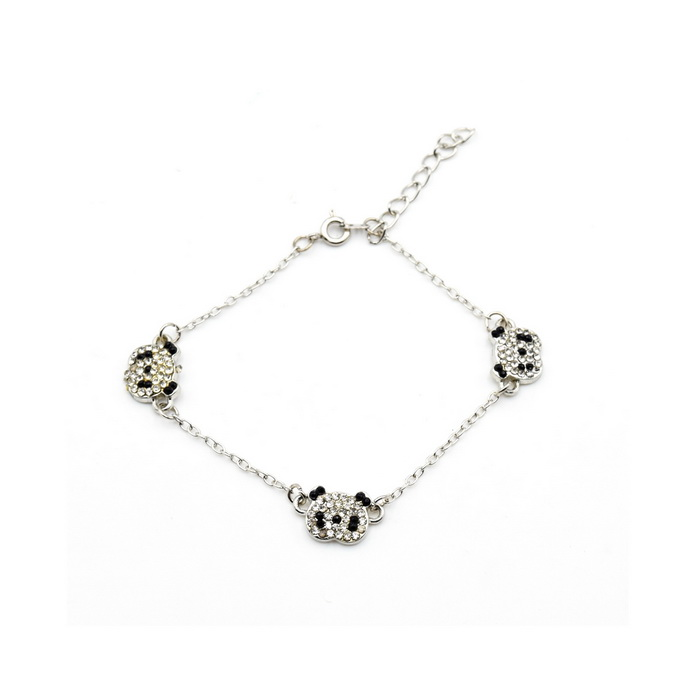 Cute Panda Style Silver-Plated Alloy Bracelet for Women - Black + Silver charming alloy gold plated bracelet
