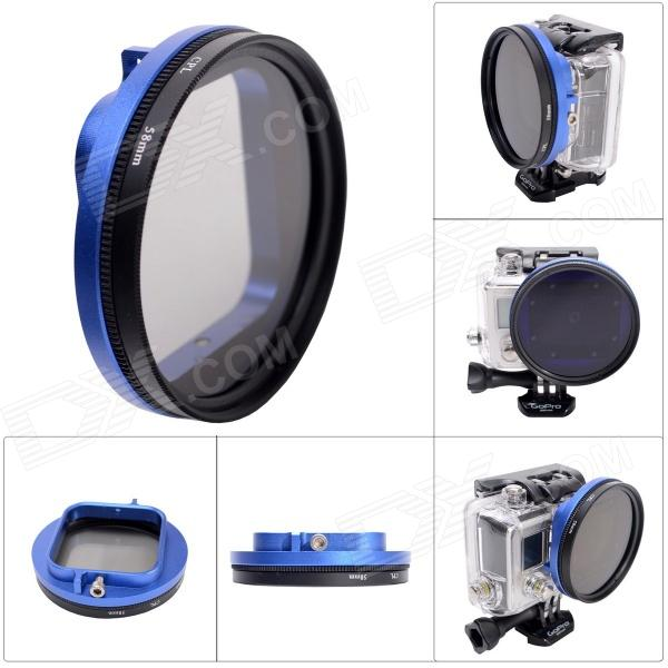 Fat Cat 58mm Converter + CPL Filter Circular Polarizer Lens Filter for Gopro Hero3 Housing - Blue cpl circular polarizing lens filter 58mm