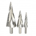 4~12mm / 4~20mm / 4~32mm HSS Steel Step Drill Bits Set - Silver (3 PCS)