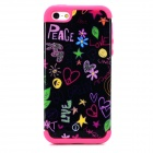 a-335 2-in-1 Heart Pattern Protective PC + Silicone Back Case for Iphone 5 / 5s - Deep Pink  + Black