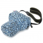 Pig Head Style Canvas + Flannel One-Shoulder Camera Bag for Nikon / Canon - Blue Camouflage
