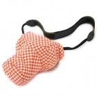 Pig Head Style Canvas + Flannel One-Shoulder Camera Bag for Nikon / Canon - White + Orange Red