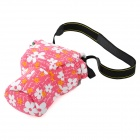 Pig Head Style Canvas + Flannel One-Shoulder Camera Bag for Nikon / Canon - White + Pink