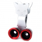 LX-U005 3-in-1 Universal 0.67X Optical Glass Wide Angle + Fisheye + Macro Lens for Cellphones - Red