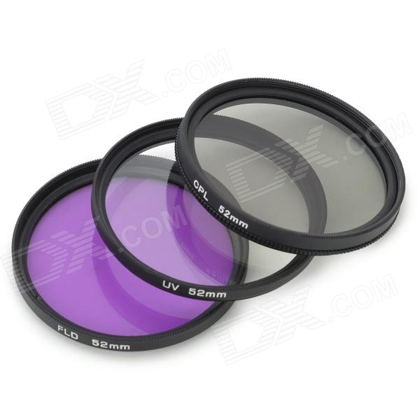 Universal 52mm UV + CPL + FLD Lens Filter for DSLR Camera - Black nicna 77mm slim multi coated mc cpl polarizing pl filter black