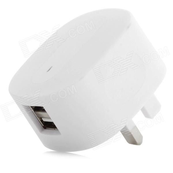 YXT-082 AC Charging Adapter Charger w/ Dual USB for iPhone / HTC / LG / Samsung / Xiaomi - White