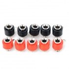 Plastic + Iron 4mm Banana Sockets - Red + Black (10 PCS)