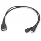Universal 1-to-2 USB 2.0 Female to Micro USB Male + Female Charging Cable - Black (2 PCS)
